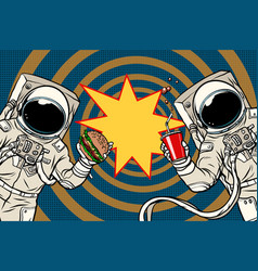 two astronauts are eating lunch fast food vector image vector image