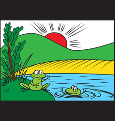 Two cheerful frog vector