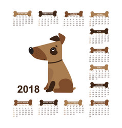 year of the dog wall calendar for 2018 from vector image vector image