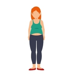 Fat woman female body vector