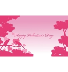 Bird and tree landscape valentine vector