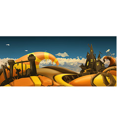 Halloween background Cartoon landscape panorama 3d vector image