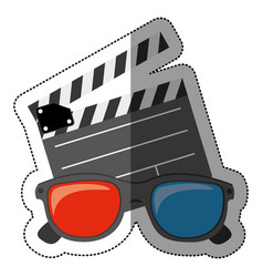 colorful sticker with clapperboard cinema and 3d vector image
