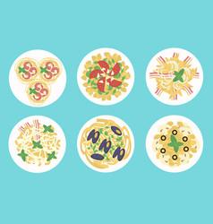 italian pasta and spaghetti meals set vector image