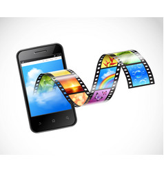 Smartphone with streaming video vector