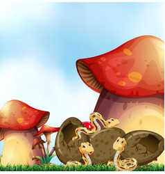 Garden scene with three snakes and mushrooms vector