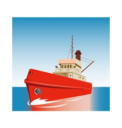 Tug boat at sea vector