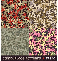 Set of camouflage seamless patterns vector
