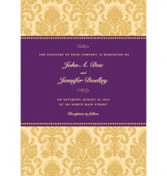 Royal purple damask frame vector