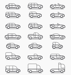 Car body types icons vector