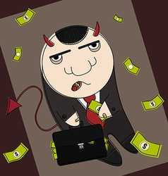 Cartoon style devil in suit vector