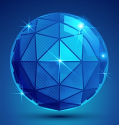 3d blue sphere with flashes shiny dotted vector image vector image