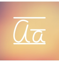 Cursive letter a thin line icon vector