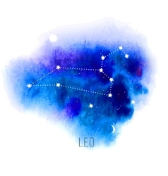 Astrology sign leo on blue watercolor background vector
