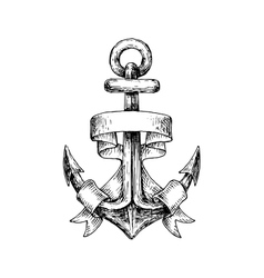 Sketch of retro nautical anchor with wavy banner vector