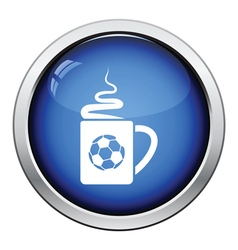 Football fans coffee cup with smoke icon vector