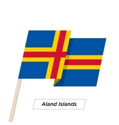 Aland Island Ribbon Waving Flag Isolated on White vector image vector image