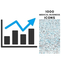 Bar Chart Trend Icon with 1000 Medical Business vector image vector image
