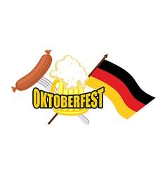 Beer mug and flag of germany - symbol oktoberfest vector