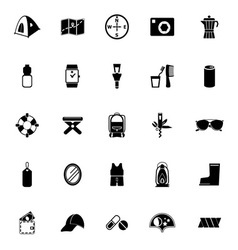Camping necessary icons on white background vector