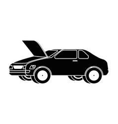 car with open hood vector image