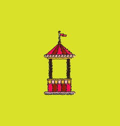 Circus ticket cart icon in hatching style vector
