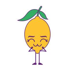 citrus lemon kawaii cartoon fruit vector image