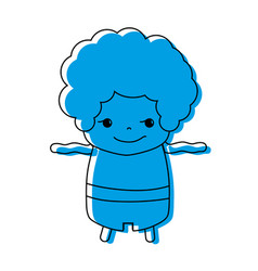 Color boy with curly hair and rogue face vector