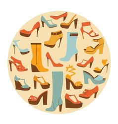 Colorful stylish shoes round composition vector image