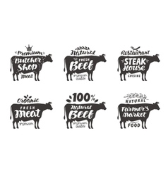 Cow set food labels badges and icons vector