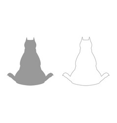 dog from back view grey set icon vector image