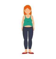 Fat woman female body vector