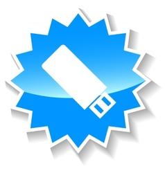 Flash drive blue icon vector image