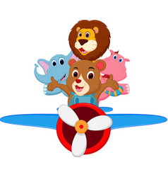 Funny cartoon animals riding a plane vector