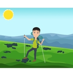 Funny man with a backpack goes hiking vector