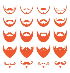 Ginger beard with moustache or mustache icons vector