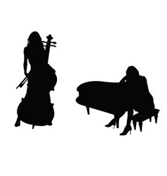 Girl figure silhouette with music instrument set vector