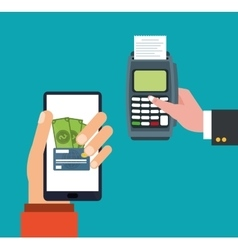 Hand holds smartphone dataphone payment online vector