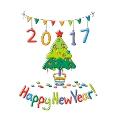 Happy New Year greeting card with fir vector image vector image