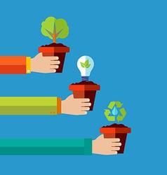 Human go green flat design concept background vector