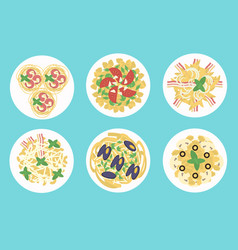 Italian pasta and spaghetti meals set vector