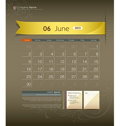 June 2013 Calendar vector image
