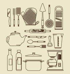 Kitchen utensils vintage icon set vector