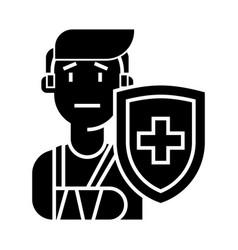 life insurance icon black vector image