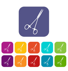 Medical clamp scissors icons set flat vector