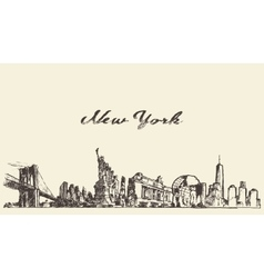 New york city skyline engraved drawn sketch vector