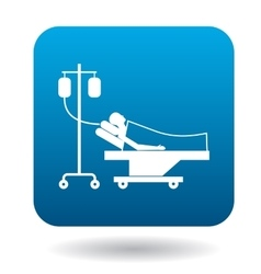 Patient in bed on a drip icon simple style vector