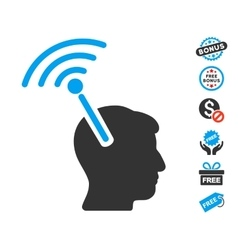 Radio neural interface icon with free bonus vector