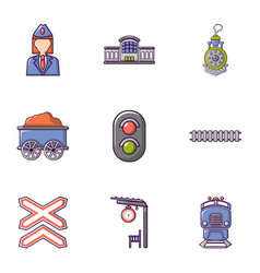 Railway work icons set flat style vector