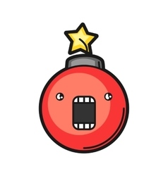 Red bomb icon on white background vector